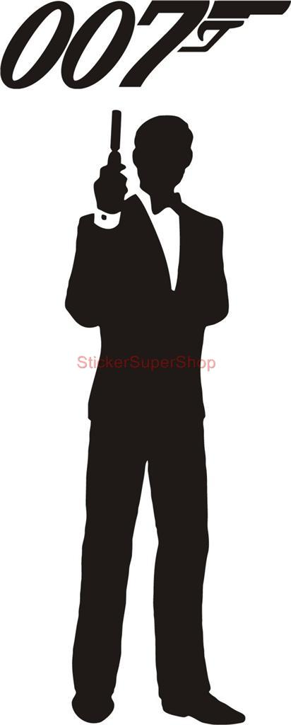 james bond 007 silhouette decal removable door wall. Black Bedroom Furniture Sets. Home Design Ideas