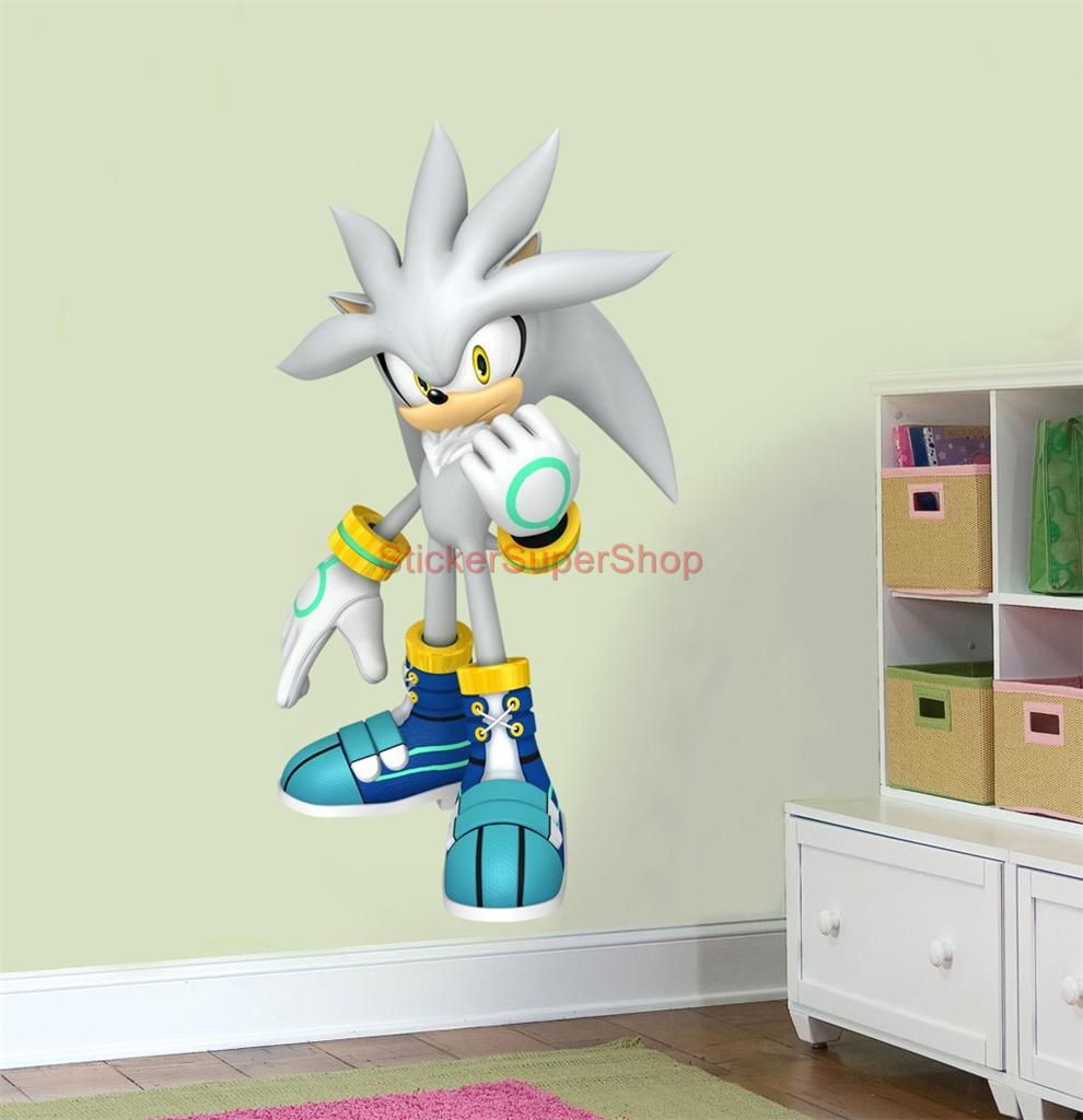 Xxl silver sonic the hedgehog decal removable wall sticker home decor art game ebay - Sonic wall decals ...
