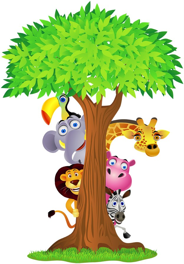 Choose-Size-SAFARI-ANIMALS-TREE-Decal-Removable-WALL-STICKER-Decor-Art ...