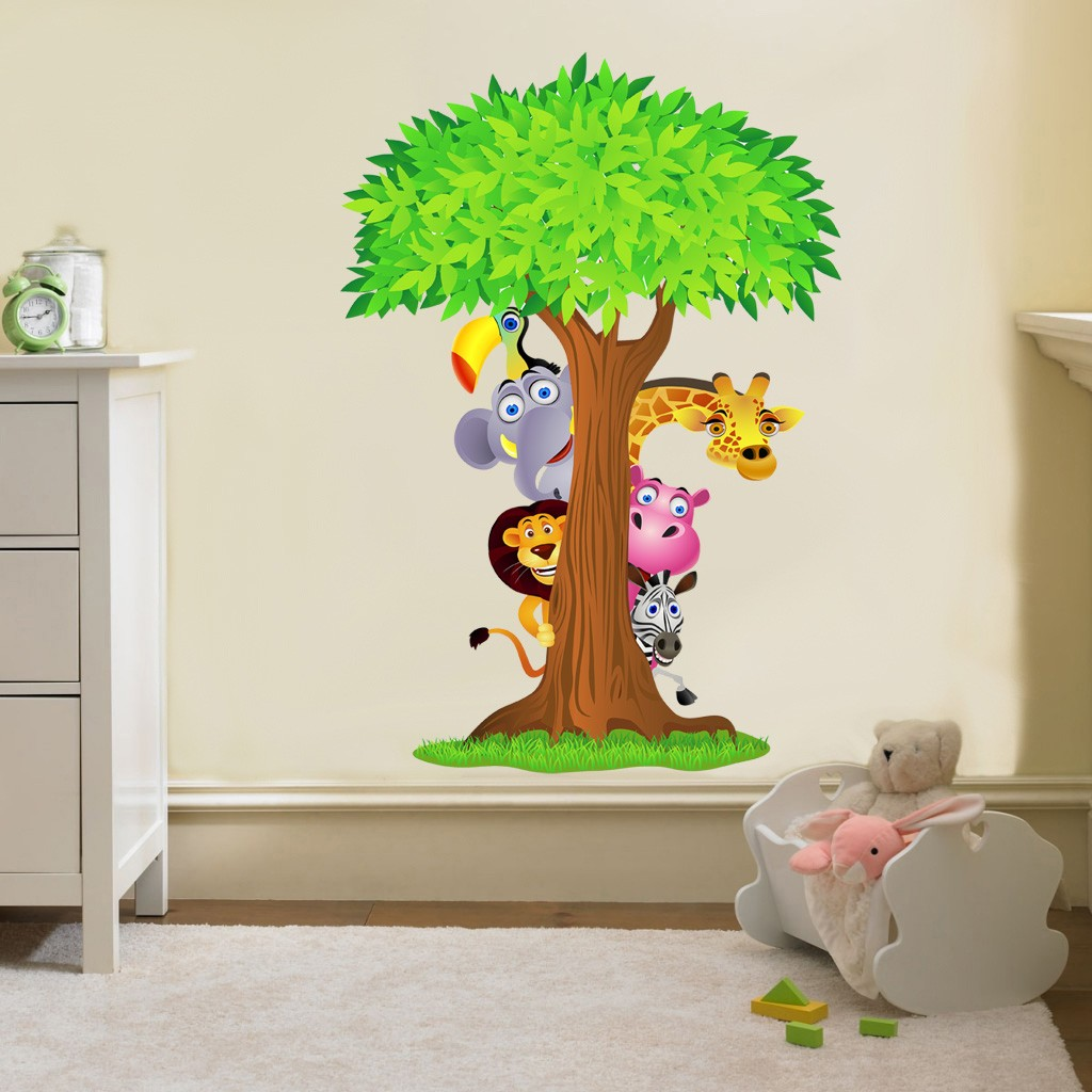 Safari animals tree decal removable wall sticker home - Kinderzimmer gestalten wand ...