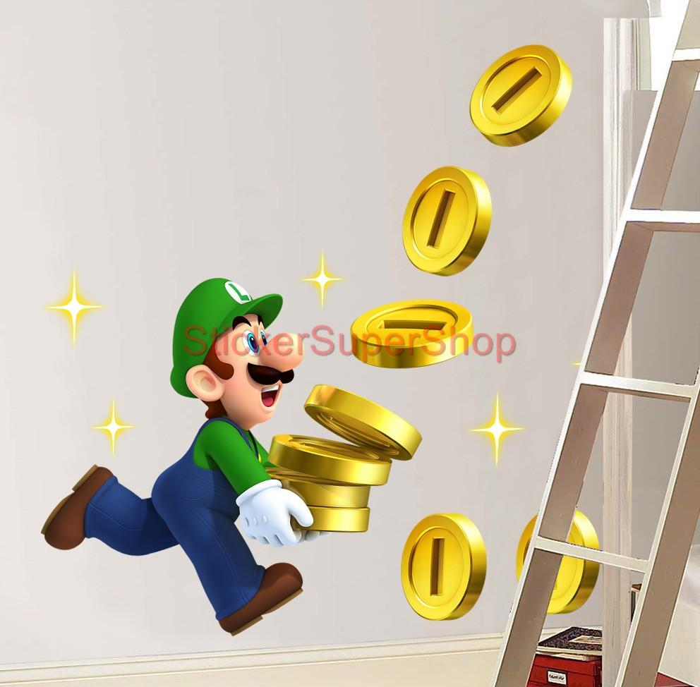 Luigi Collects Coins Super Mario Bros Decal Removable Wall
