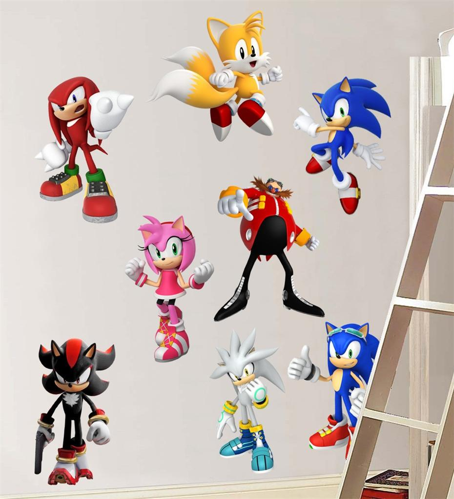 sonic hedgehog 8 characters set decal removable wall sonic wall mural vinyl decal sticker kids room s 640