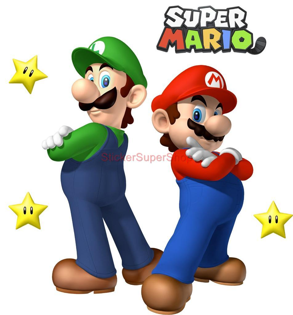 Super mario and luigi bros decal removable wall sticker home decor art giant ebay - Super mario giant wall decals ...