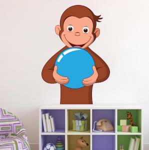 Curious george decal removable wall sticker home decor art for Curious george wall mural
