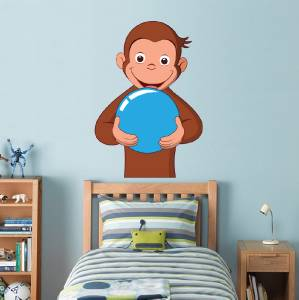 Curious george decal removable wall sticker home decor art for Curious george giant wall mural