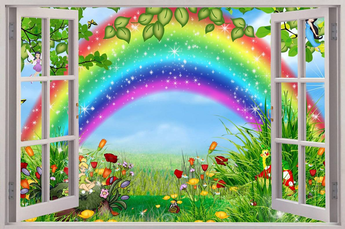 Fairy garden 3d window decal wall sticker home decor art for Fairy garden wall mural