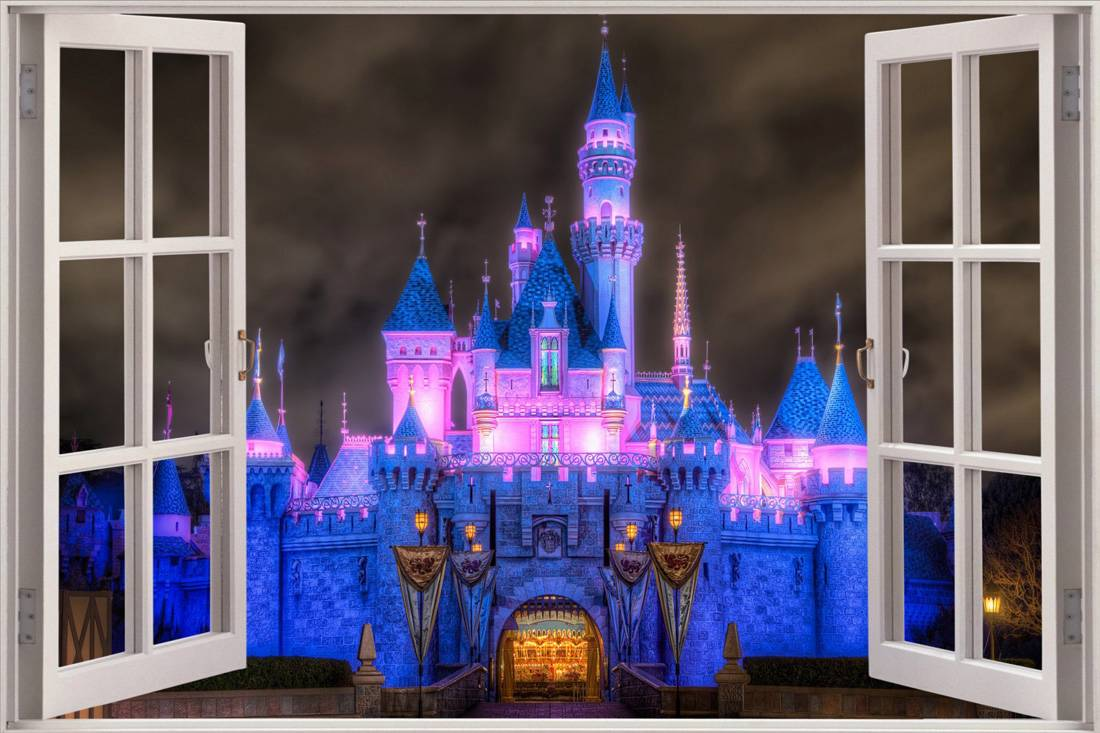 Enchanted princess castle 3d window decal wall sticker for Home wallpaper ebay