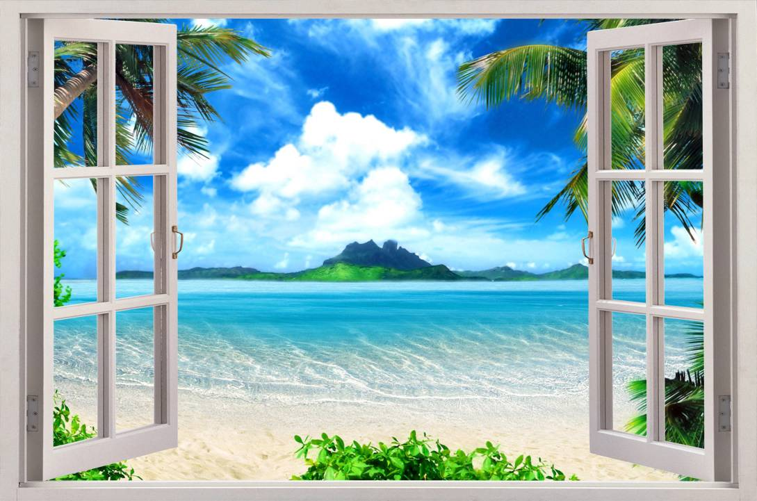 Exotic beach view 3d window decal wall sticker home decor for Beach wall mural decals