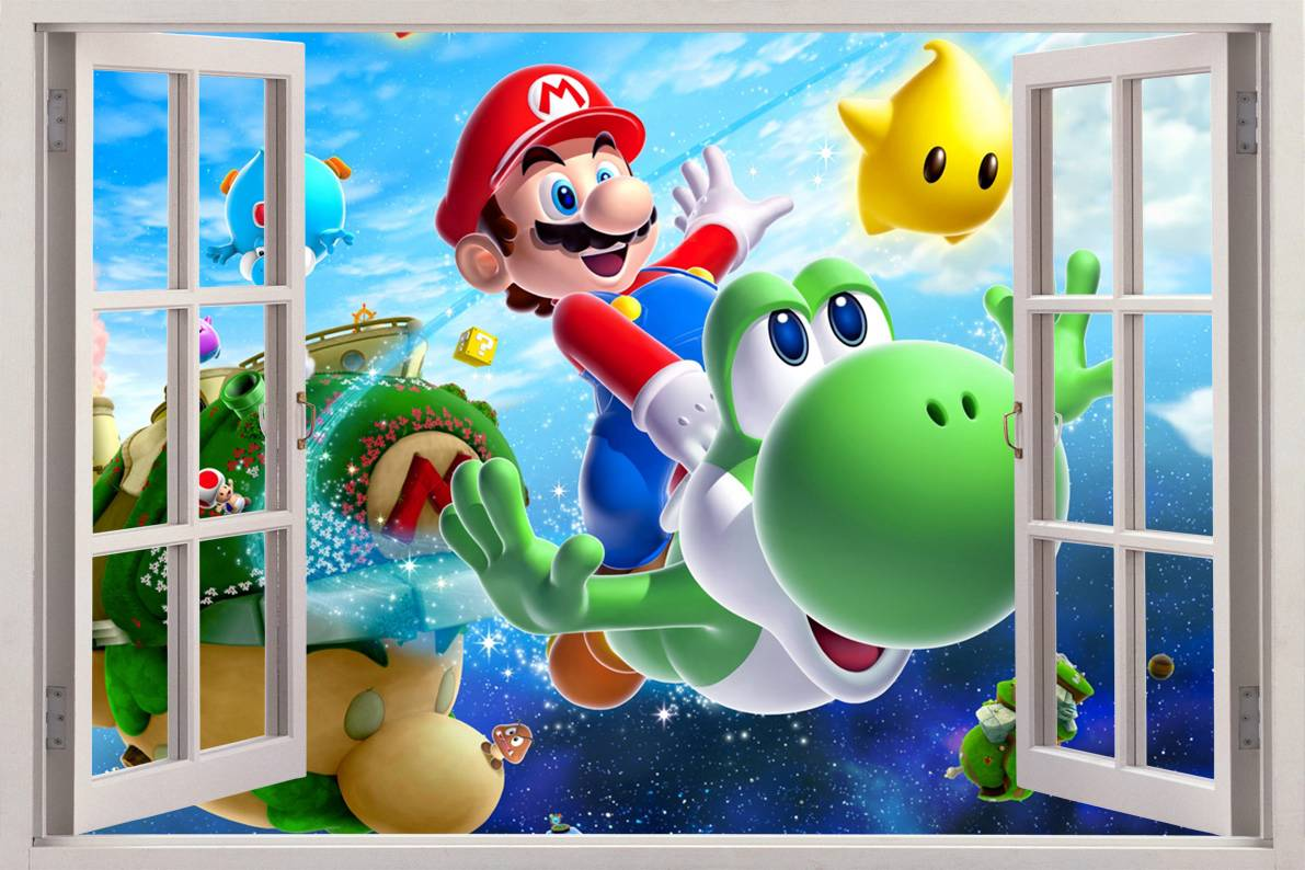 Super mario bros 3d window view decal wall sticker home for 3d decoration games