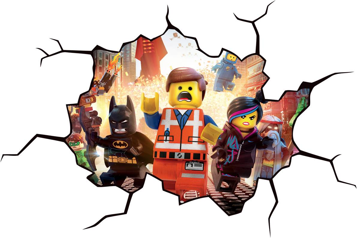 Lego movie cracked wall or window effect decal sticker for Broken glass mural