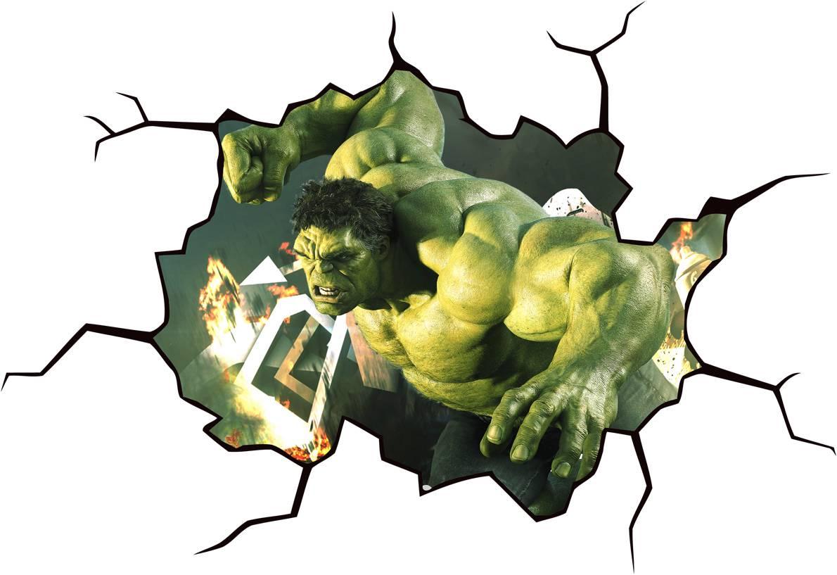hulk cracked wall or window effect decal sticker decor art wall designer incredible hulk avengers superhero wall