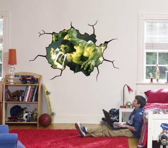 Hulk cracked wall or window effect decal sticker decor art for Broken glass mural