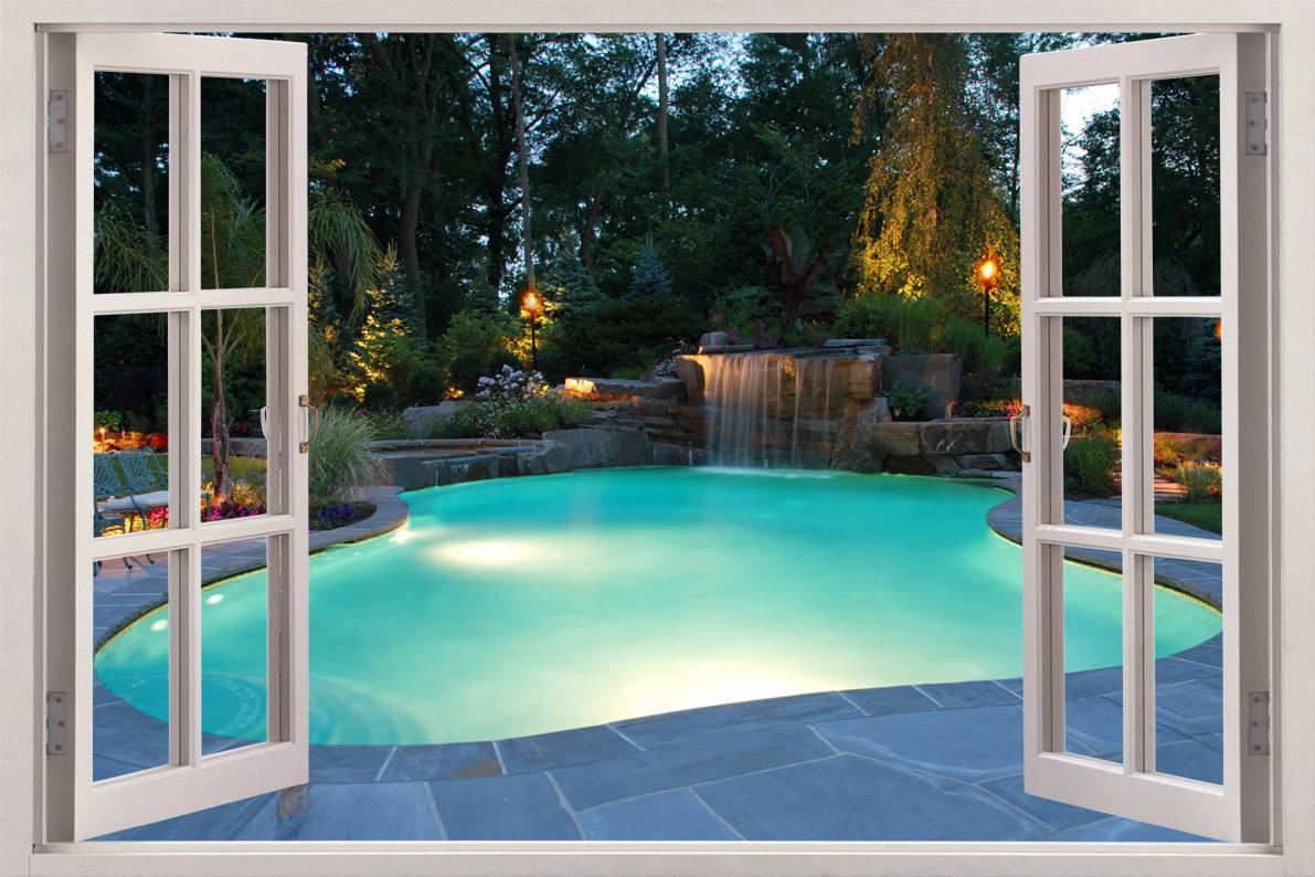Swimming Pool 3D Window View Decal Wall Sticker Home Decor