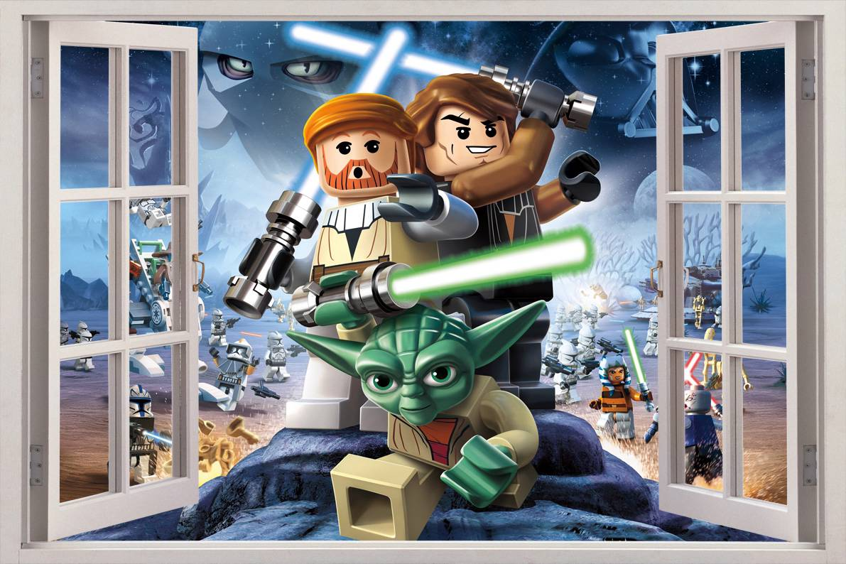 lego star wars 3d window view decal wall sticker home. Black Bedroom Furniture Sets. Home Design Ideas