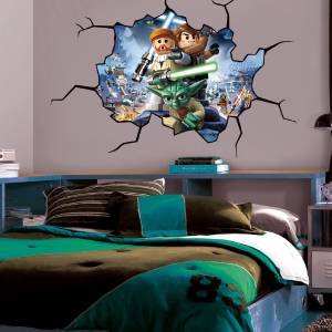 lego star wars cracked wall window effect decal sticker. Black Bedroom Furniture Sets. Home Design Ideas