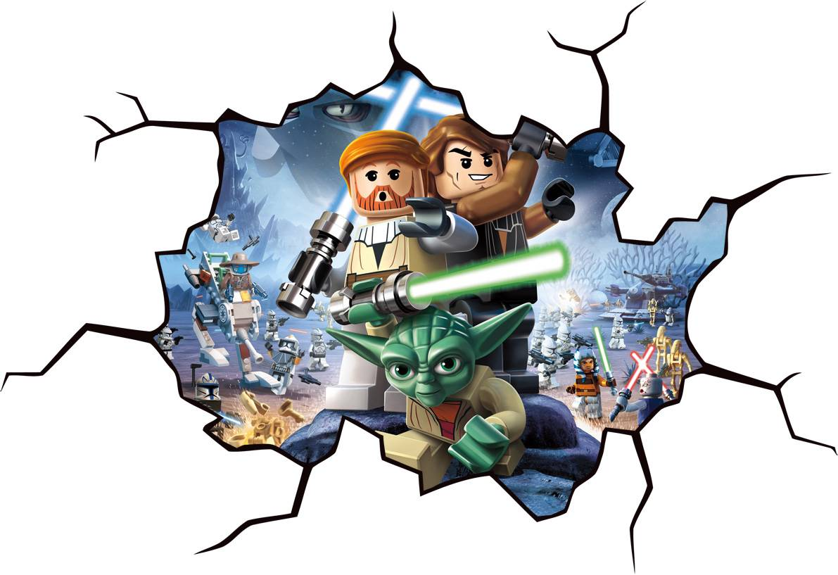 Lego star wars cracked wall window effect decal sticker for Mural star wars