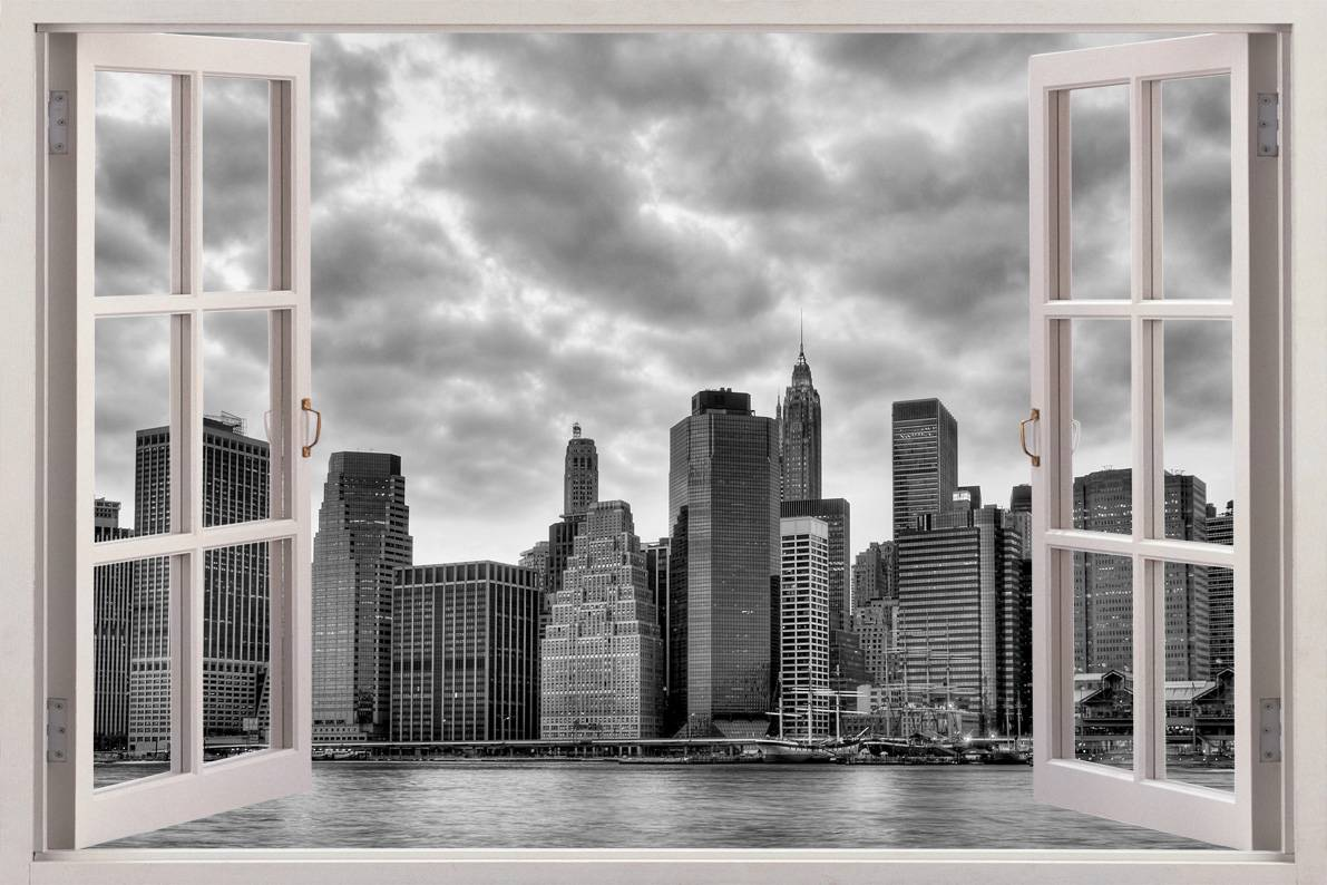 New york 3d window view decal wall sticker home decor art for New york city decor