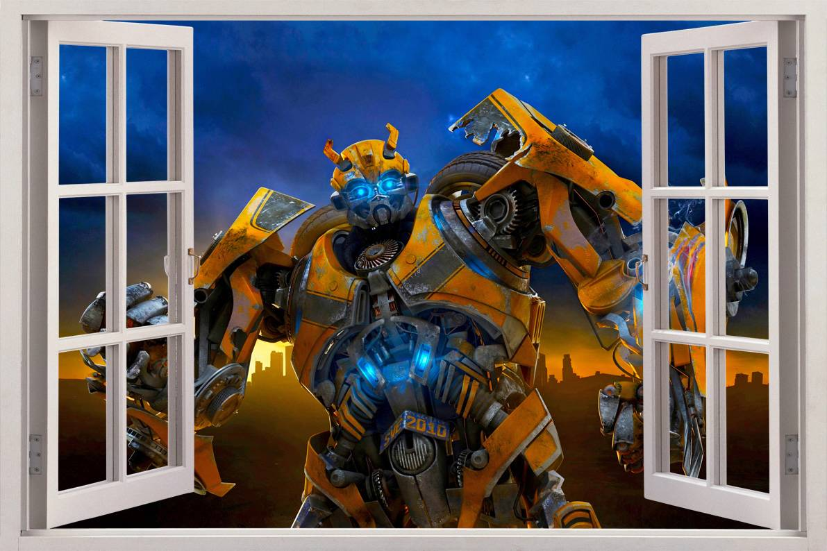 Bumblebee transformers 3d window view decal wall sticker for Door mural stickers