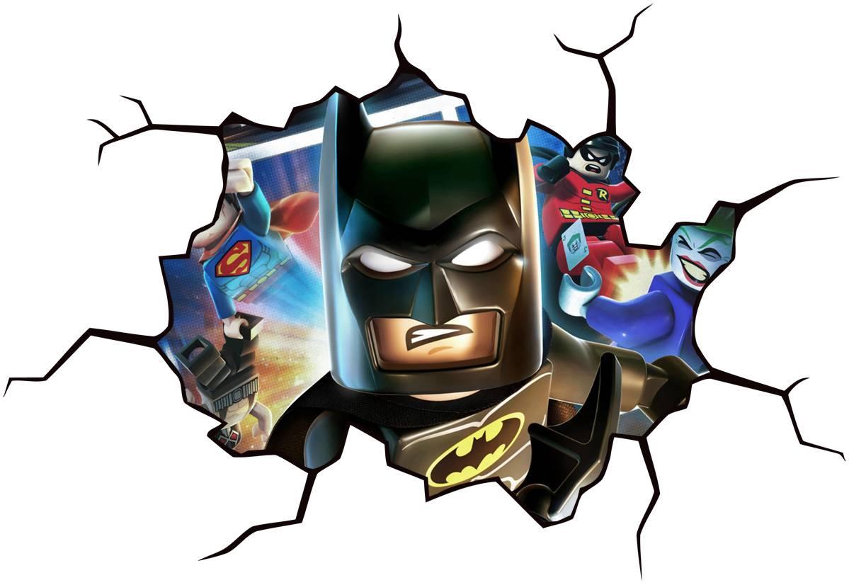 Lego batman cracked wall effect decal sticker home decor for Batman wall mural decal