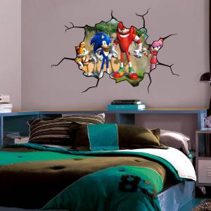 Sonic the hedgehog cracked wall effect decal sticker decor art mural tails rose ebay - Sonic wall decals ...