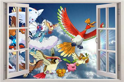 sky pokemon 3d window view decal wall sticker art home