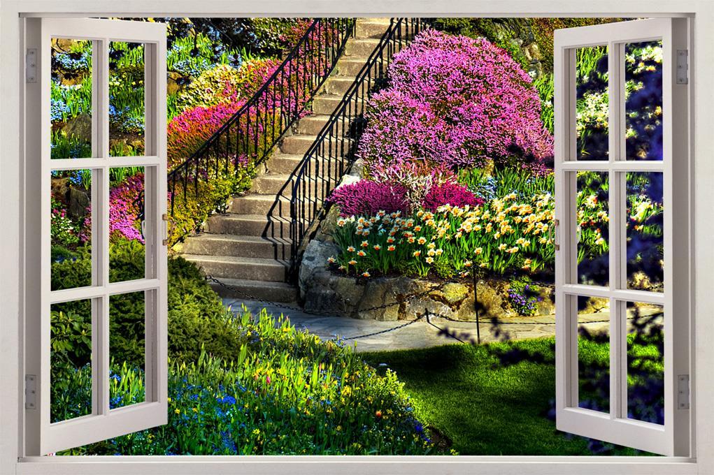 Garden view 3d window decal wall sticker home decor art for Flower wall garden