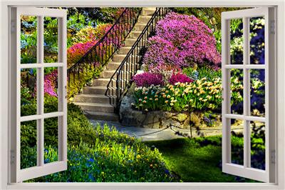 Garden view 3d window decal wall sticker home decor art for Fenetre 90x60