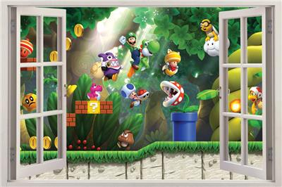 super mario bros scene 3d window view decal wall sticker