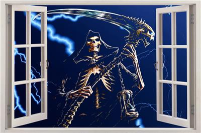Grim reaper skeleton 3d window view decal wall sticker decor art mural lightn - Decor mural original ...