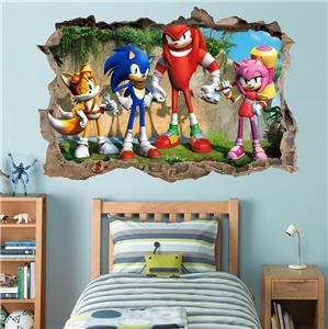 Sonic the heedgehog smashed wall decal removable graphic wall sticker tails h181 ebay - Sonic wall decals ...