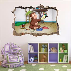 Curious george smashed wall decal graphic wall sticker for Curious george wall mural
