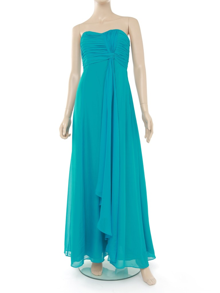 Pure 100 Silk Bandeau Prom Dress Ball Gown Aqua Blue