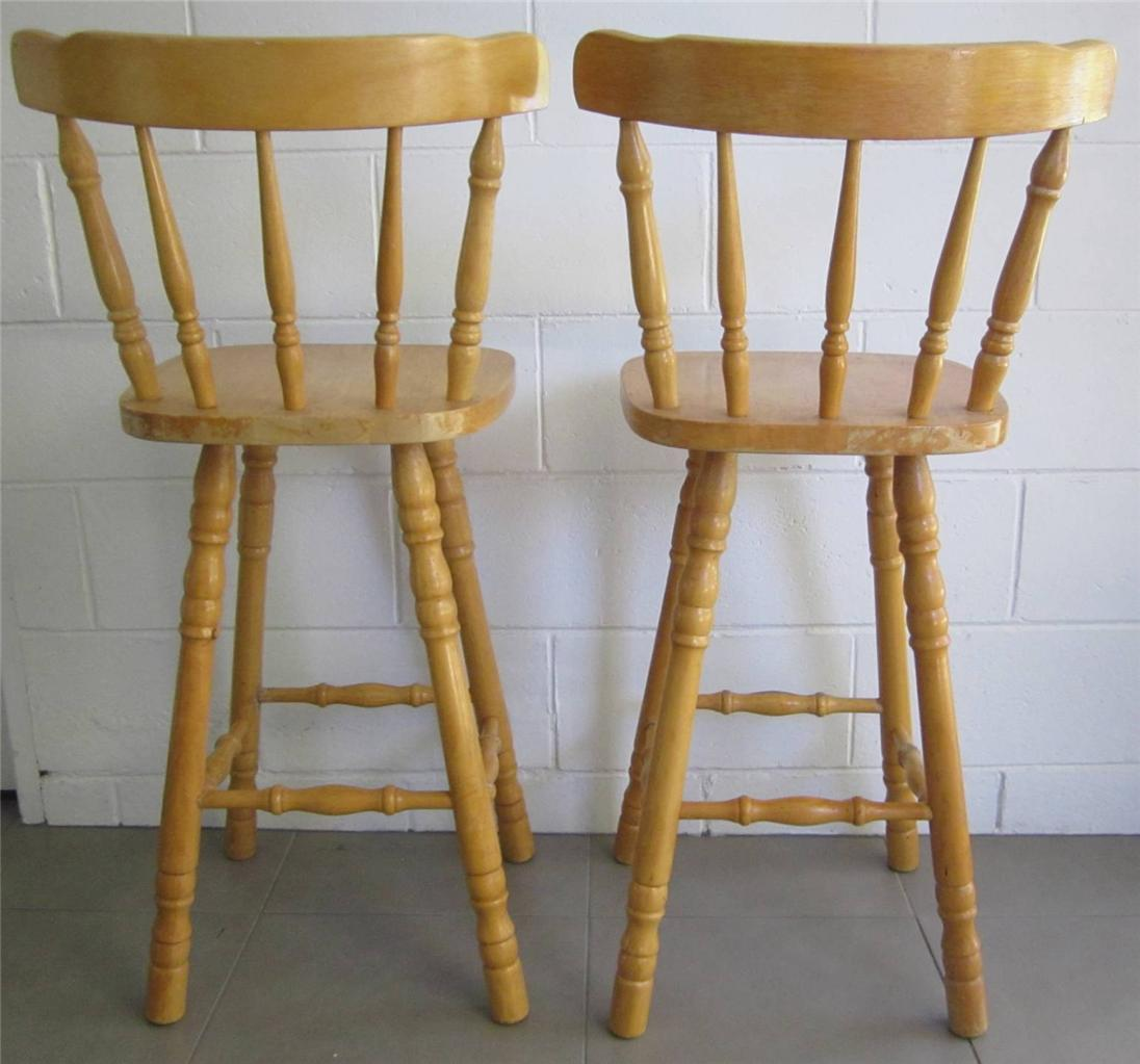 Bar Stools Timber Wooden Kitchen High Chairs Spindle Back  : 721948384o from www.ebay.com.au size 1096 x 1023 jpeg 93kB