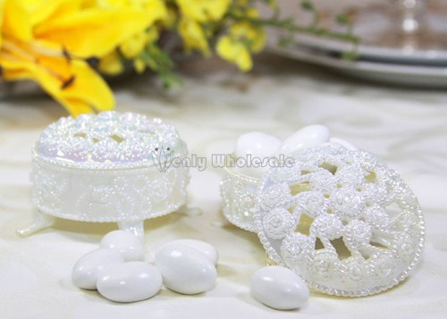 12 Gold Silver White Round Plastic Trinket Box Wedding Favor Table decorations