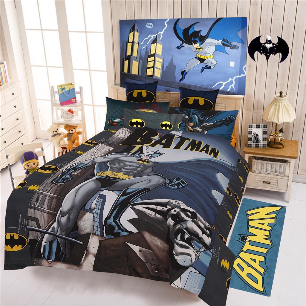 BATMAN GREY DOUBLE SIZE 100% COTTON KIDS BED QUILT DOONA DUVET COVER SET NEW