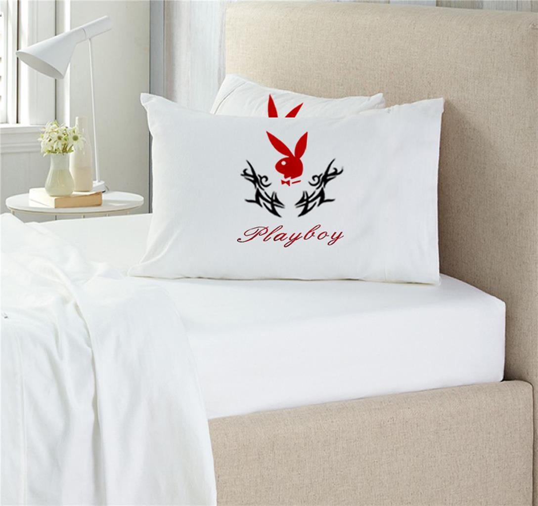 new playboy white 100 cotton queen size fitted sheet set no flat sheet ebay. Black Bedroom Furniture Sets. Home Design Ideas