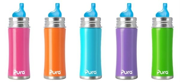 NEW-Pura-Kiki-Stainless-Steel-Toddler-Baby-Inflant-Sippy-Bottle-Vent-Nipple-11oz