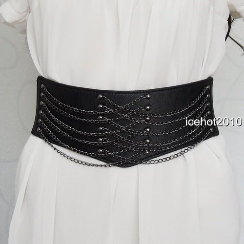 B81 Women black Punk Cool metal Chain Clothing Belt
