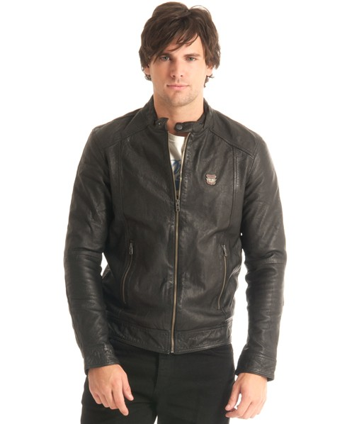 New-Mens-Superdry-Basic-Biker-Leather-Jacket