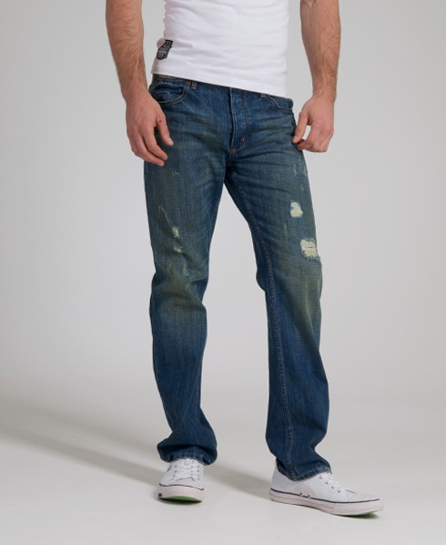 New-Mens-Superdry-Standard-Blue-Straight-Jeans