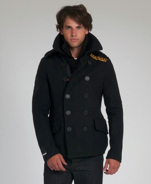 New-Mens-Superdry-Classic-Pea-Coat-Jacket