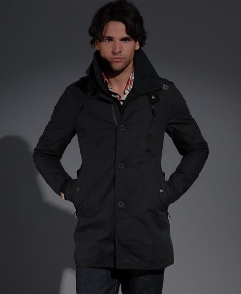 new mens superdry jermyn st trench coat jacket black. Black Bedroom Furniture Sets. Home Design Ideas