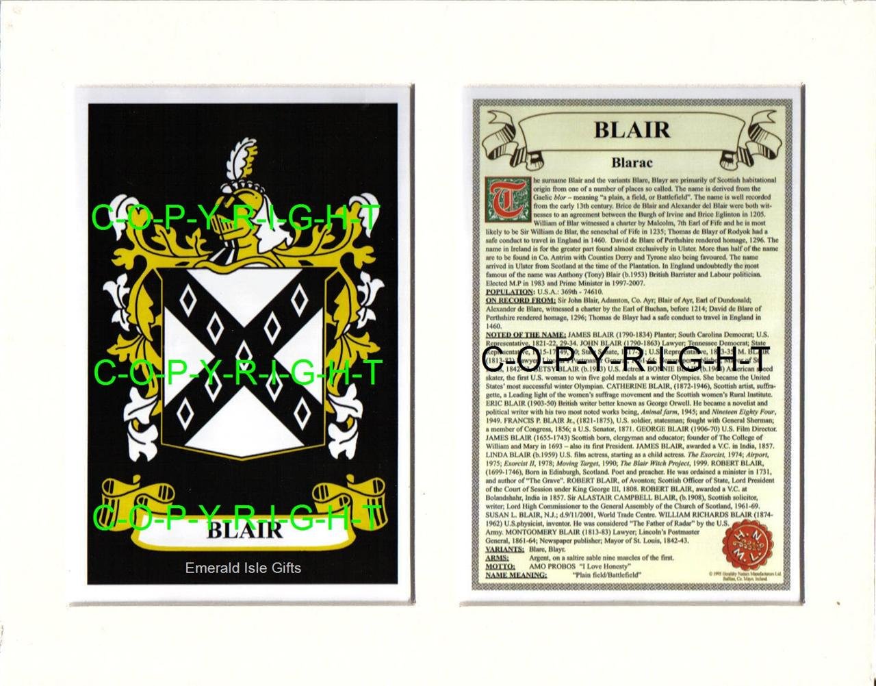Heraldic-COAT-OF-ARMS-Crest-Mount-Family-History-BLAIR-to-BONVILLE