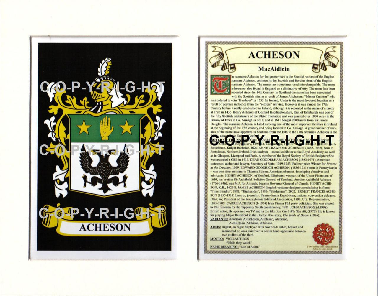 ACHESON-Family-Coat-of-Arms-Crest-History-Available-Mounted-or-Framed