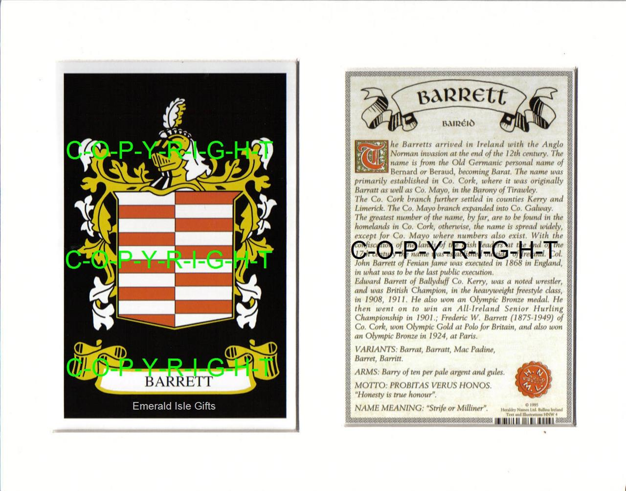 BARRETT-Family-Coat-of-Arms-Crest-History-Available-Mounted-or-Framed