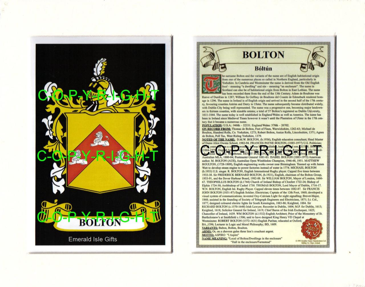 BOLTON-Family-Coat-of-Arms-Crest-History-Available-Mounted-or-Framed