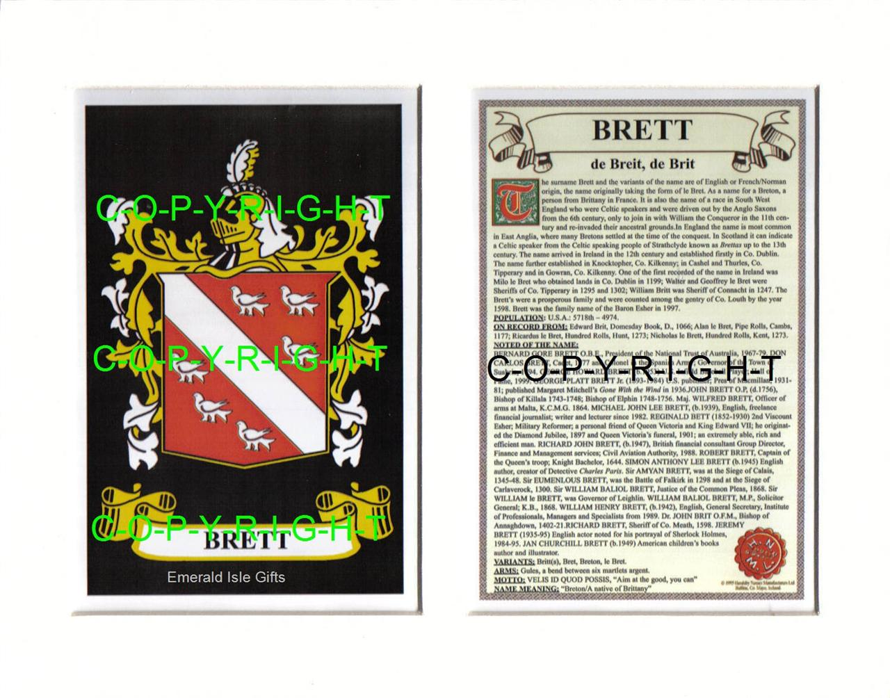BRETT-Family-Coat-of-Arms-Crest-History-Available-Mounted-or-Framed