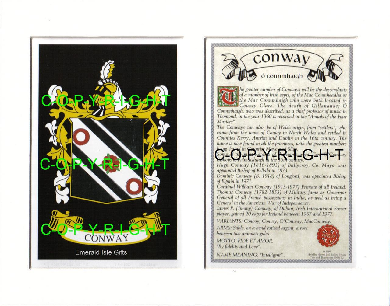 CONWAY-Family-Coat-of-Arms-Crest-History-Available-Mounted-or-Framed