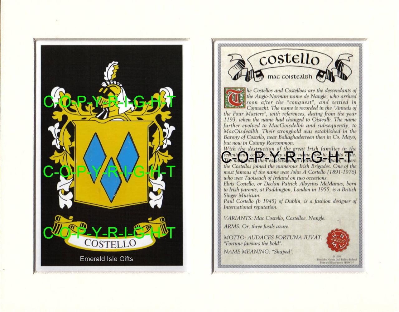 COSTELLO-Family-Coat-of-Arms-Crest-History-Available-Mounted-or-Framed