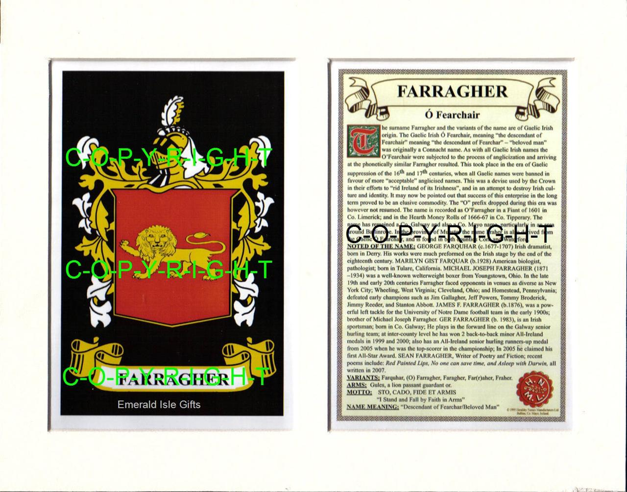 FARRAGHER-Family-Coat-of-Arms-Crest-History-Available-Mounted-or-Framed